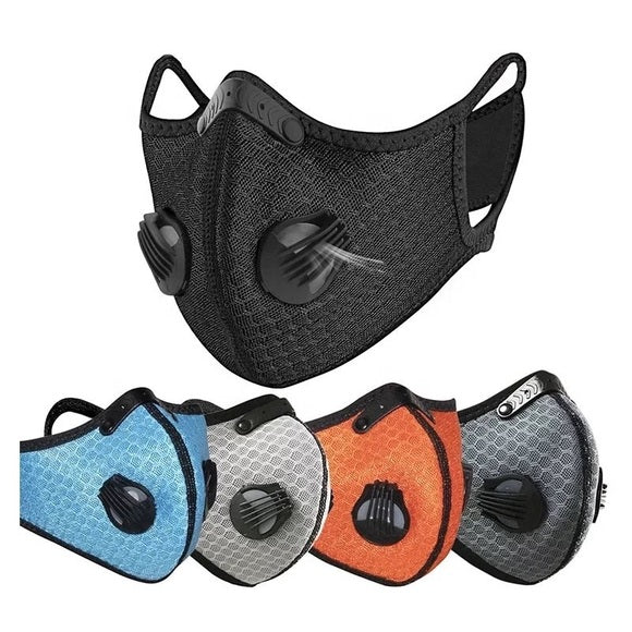 4 pcs - Sports Reusable Activated Carbon face mask with 2 valves