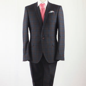 Red & Blue Check Three Piece Suit with Pink Tie