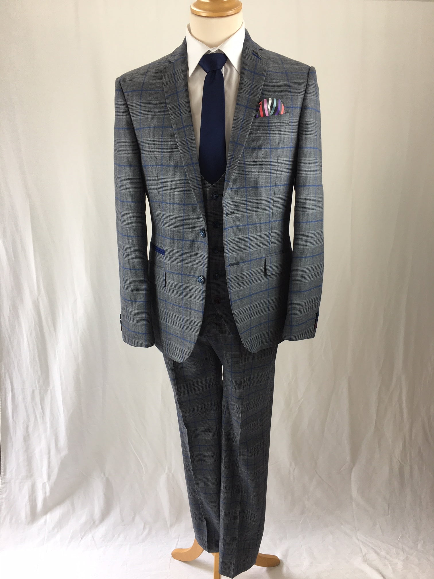 Antique Rogue 3 Piece Grey & Blue Check Suit