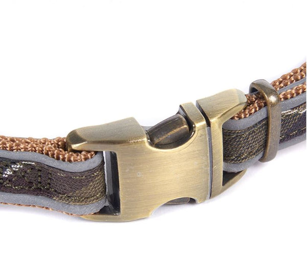 Brushed Metal Clasp on Barbour Dog Collar