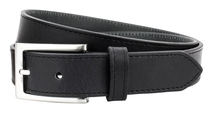 Black leather belt with nickle buckle