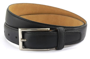 Black waxed leather belt with brushed nickle buckle