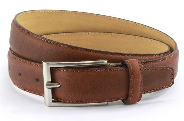 Brown waxed leather belt with brushed nickle buckle