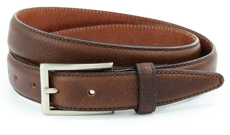 Tan pebblegrain leather belt with nickle buckle