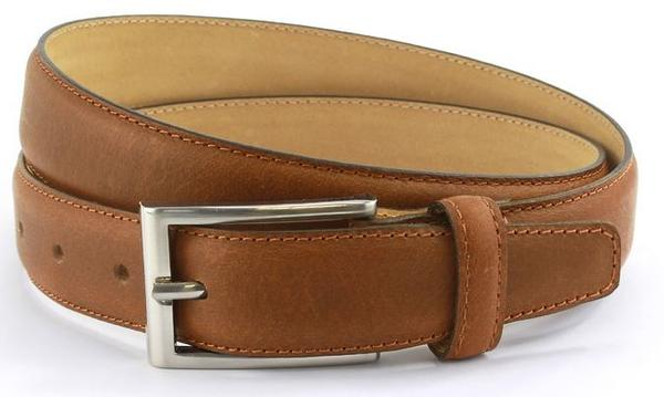 Tan waxed leather belt with brushed nickle buckle