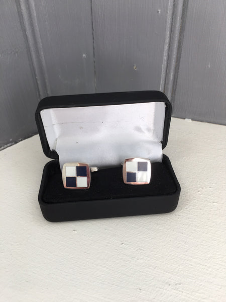 Navy & White Cufflinks in their box