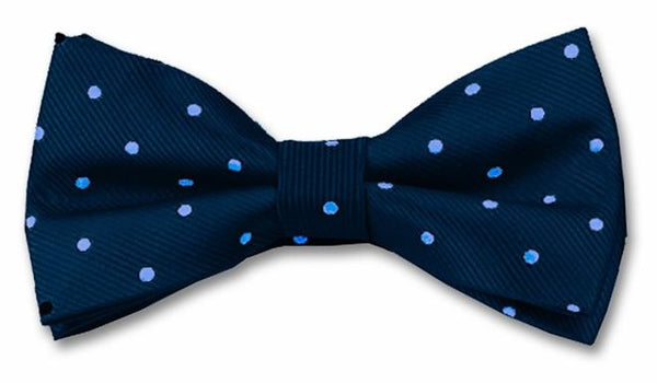 Navy bow tie with light blue pin spot