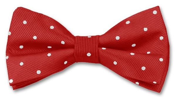 Red bow tie with white pin spot
