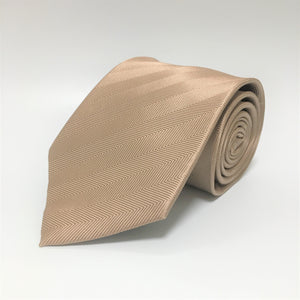 Champagne colour herringbone stripe silk tie