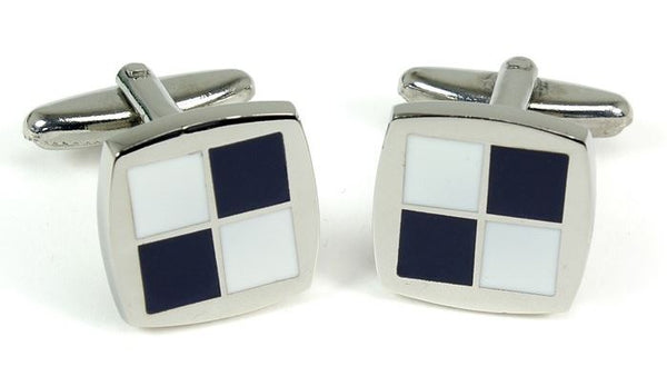 Navy & White Checkerboard Pattern Cufflinks