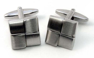Rhodium Quarter Cufflinks