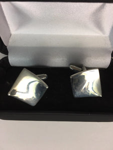 Sterling Silver concave cufflinks in the black snap shut cufflink box