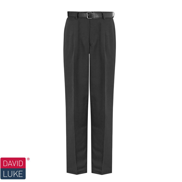 David Luke Single Pleat Black School Trousers