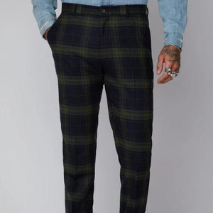 Gibson Green Black and Red Tartan Trouser