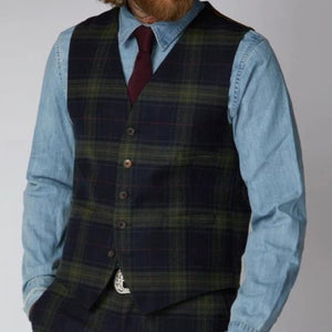 Gibson Green Black and Red Tartan Waistcoat