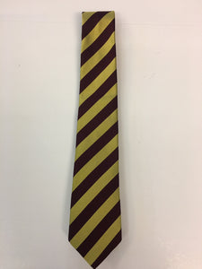 Burgundy and gold diagonal block stripe silk tie