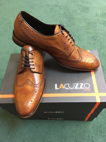 Wing Tip Hazelnut Brogue by Lacuzzo