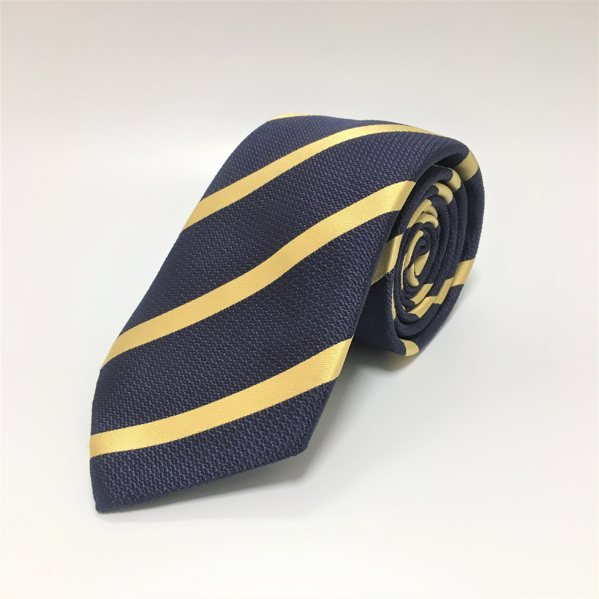 Navy silk tie with diagonal contrast gold stripe