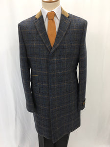 Blue checked overcoat with contrast collar