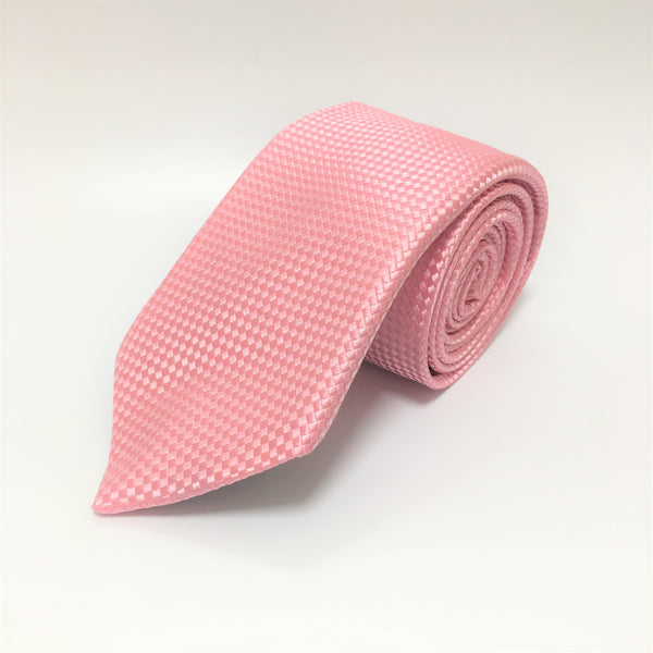 Pink silk tie with self coloured micro check