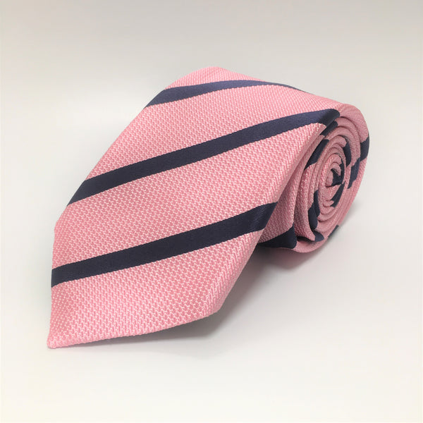 Pink silk tie with diagonal contrast navy stripe