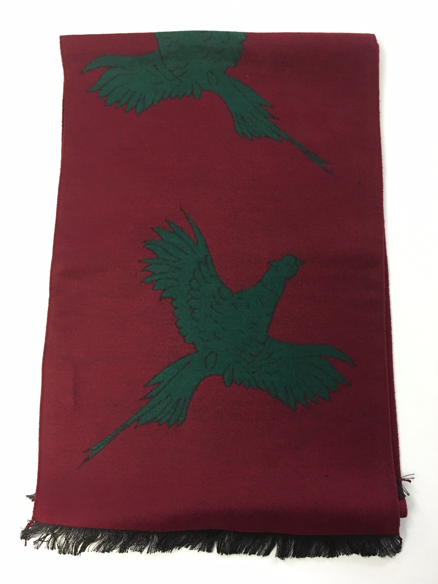 Burgundy Scarf with Large Bottle Pheasant Print
