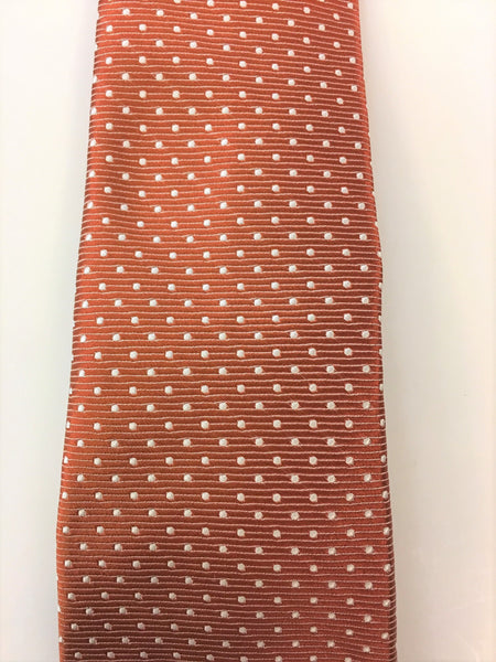 Burnt Orange Silk Jacquard Tie with Micro Dot Pattern Close Up