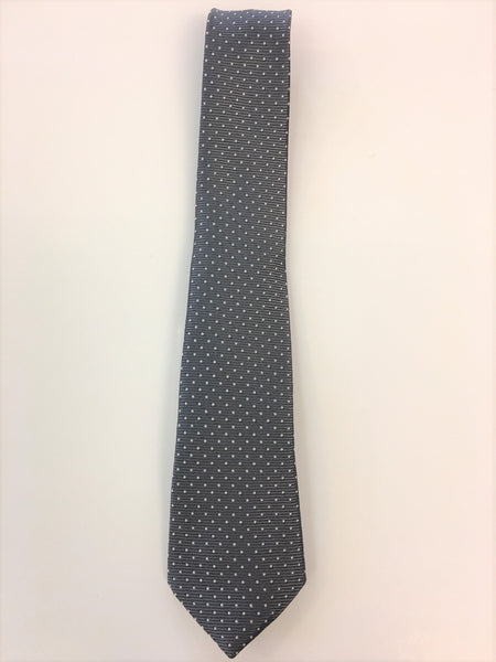 Charcoal Grey Silk Jacquard Tie with Micro Dot Pattern