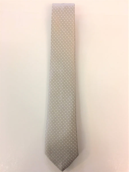 Silver Grey Silk Jacquard Tie with Micro Dot Pattern