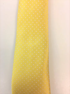 Yellow Silk Jacquard Tie with Micro Dot Pattern Close Up