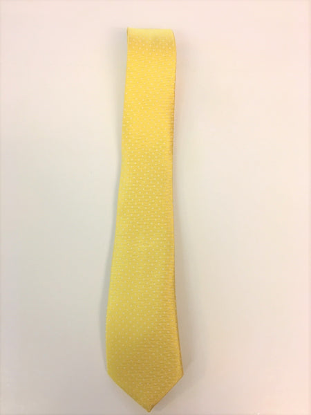 Yellow Silk Jacquard Tie with Micro Dot Pattern