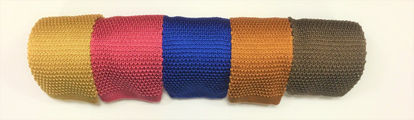 Knitted silk ties in colour order Yellow, Pink, Royal, Mustard, Nutmeg
