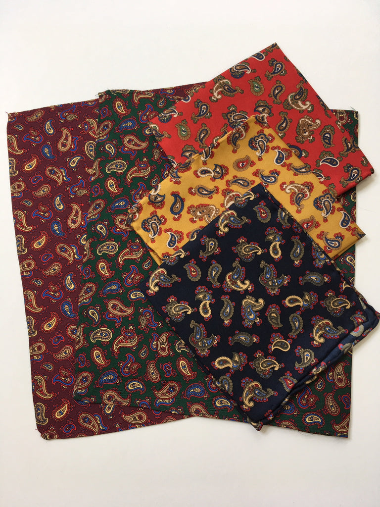 Burgundy, Bottle, Navy, Red, and Ochre paisley print pocket squares