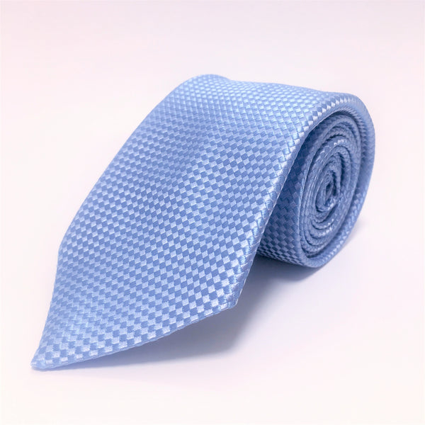 Sky Blue silk tie with self coloured micro check