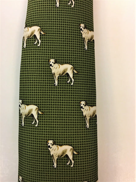Green hounds tooth silk tie with Labrador print close up