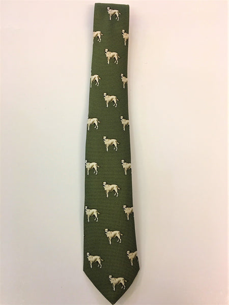 Green hounds tooth silk tie with Labrador print