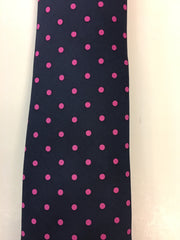 Navy silk tie with pink dotted pattern close up