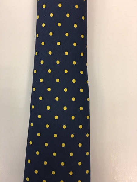 Navy Silk Tie with Yellow Dotted Pattern Close Up