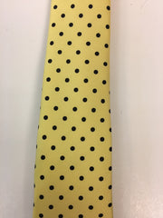 Yellow Silk Tie with Black Dotted Pattern Close Up