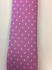 Pink Silk Tie with White Dotted Pattern Close Up
