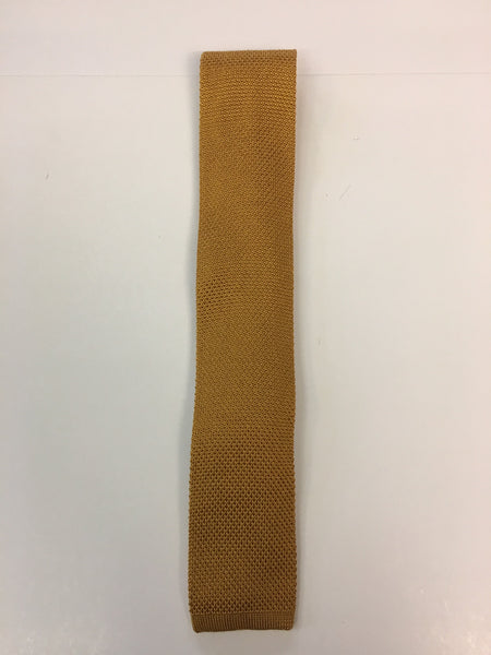 Mustard colour knitted silk tie