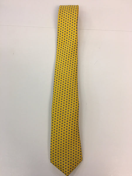 Yellow silk tie with flower print