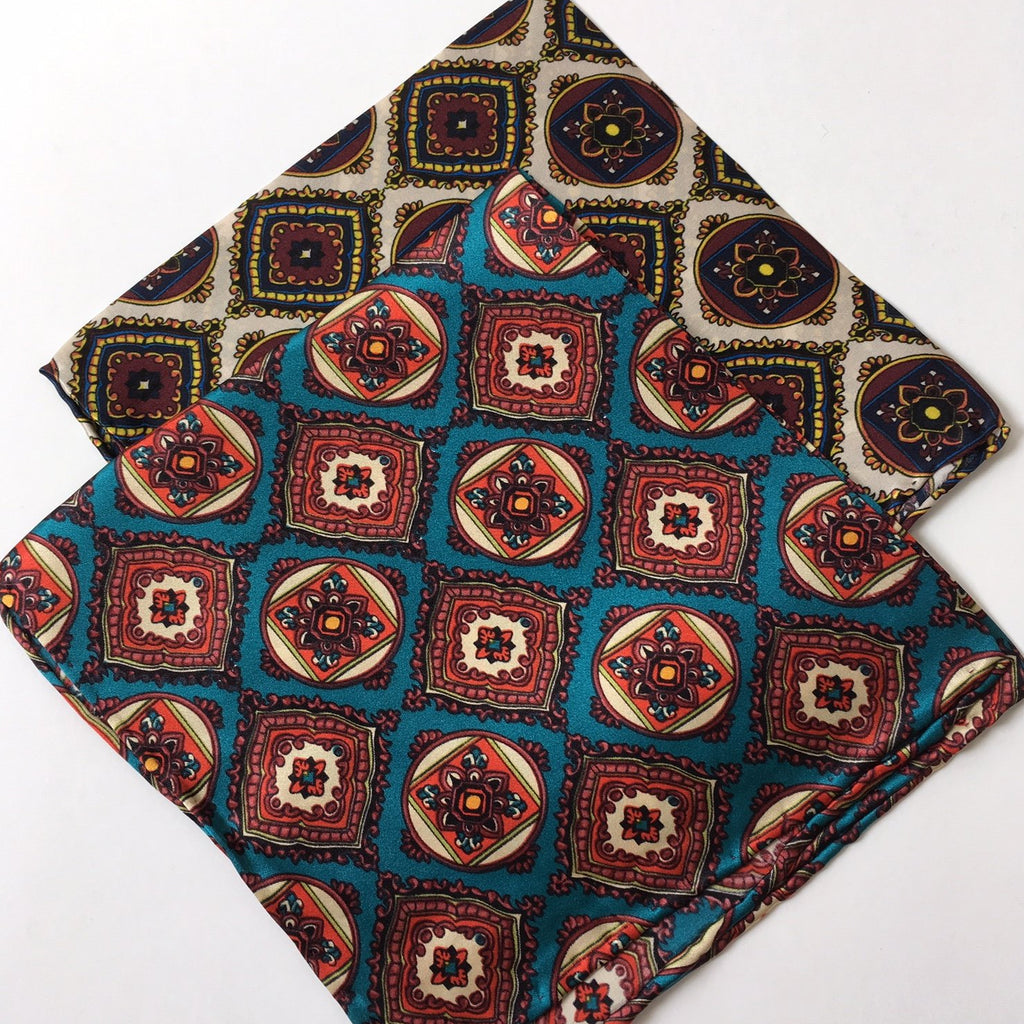 Tile Print Tootal Silk Pocket Square