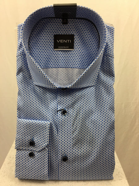 Venti Blue & White Print Shirt