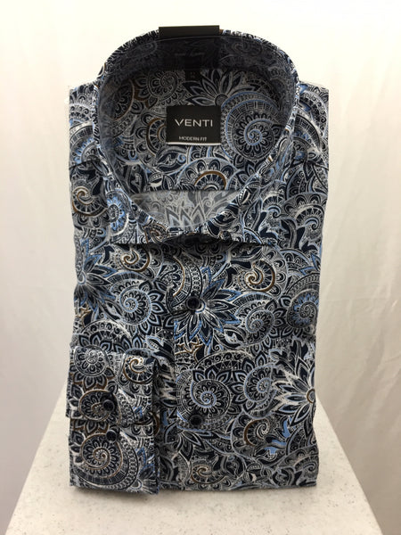 Venti Multi Blue Patterned Shirt