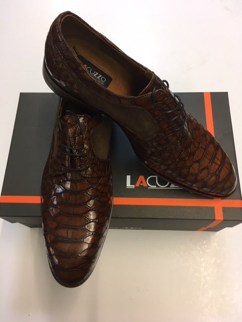 lacuzzo brown leather mock crocodile contrast suede insert