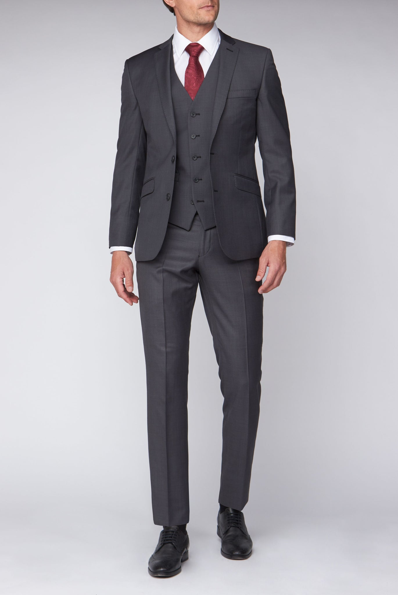 Mix & Match Grey Sharkskin full three piece suit