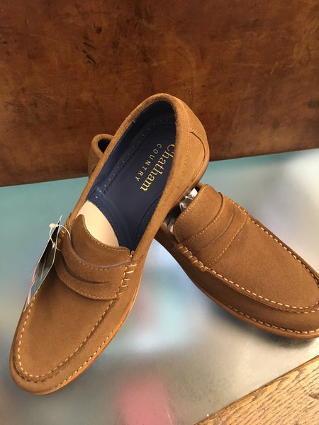 Tan Suede Penny Loafer from Chatham