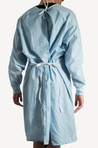 Isolation gown - BLUE - re-usable - cotton / poly mix - free shipping - FDA Level 2