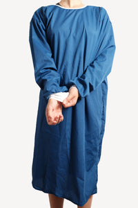 Isolation gown - DARK BLUE - re-usable - cotton / poly mix - free shipping - FDA Level 2